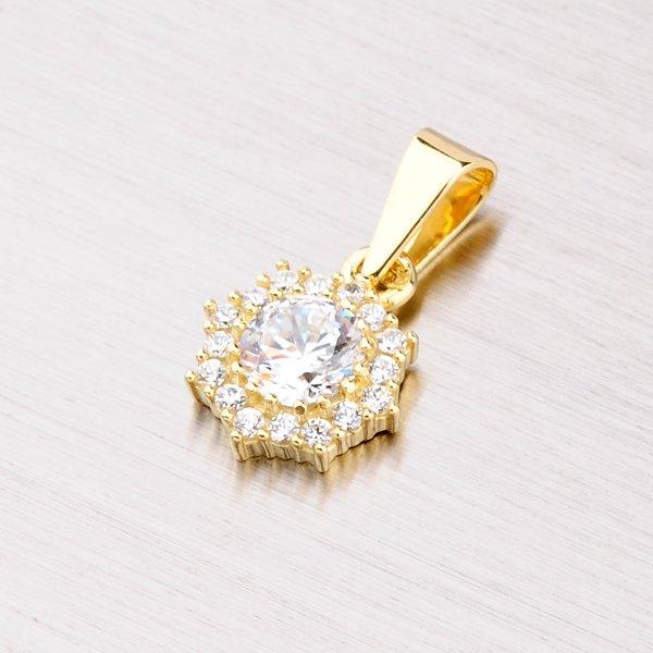 Zlatý přívěsek s bílými zirkony 352-0086-01