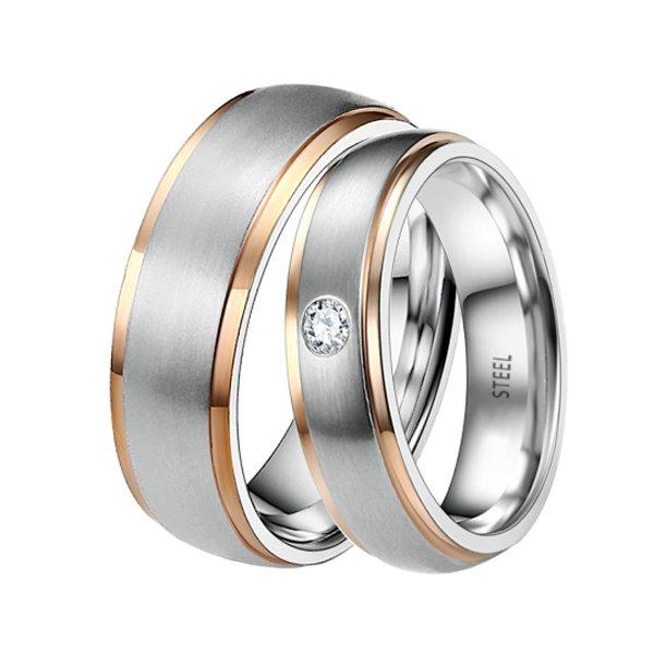Snubní prsteny - ocel + zlacení ST-88064