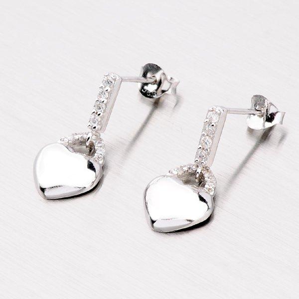 Stříbrné náušnice - srdce ZE001