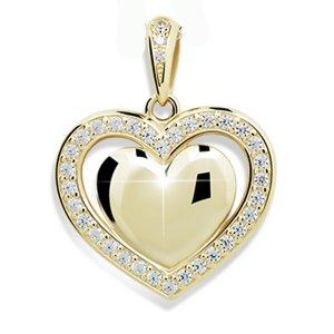 Zlaté srdce se zirkony DZ2405