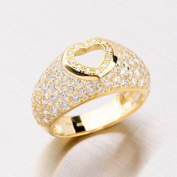 Prsten ze žlutého zlata se srdcem GZ2407