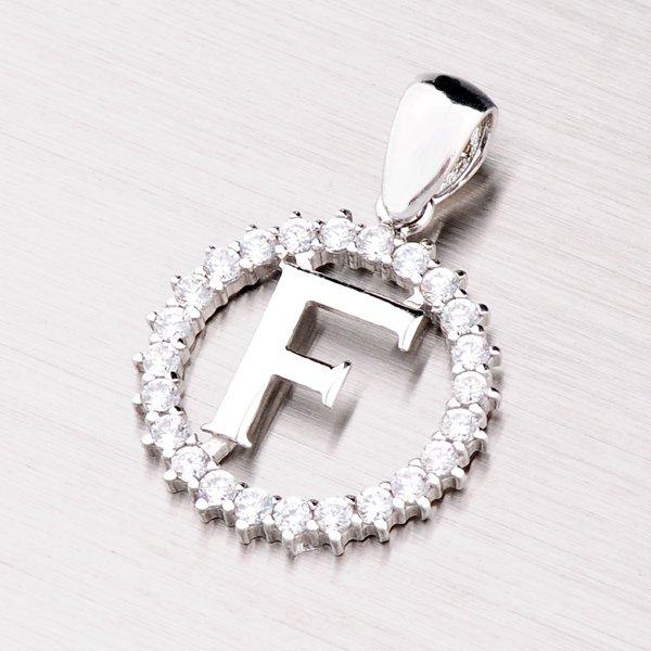 Stříbrné písmenko se zirkony - F MPN5192-F