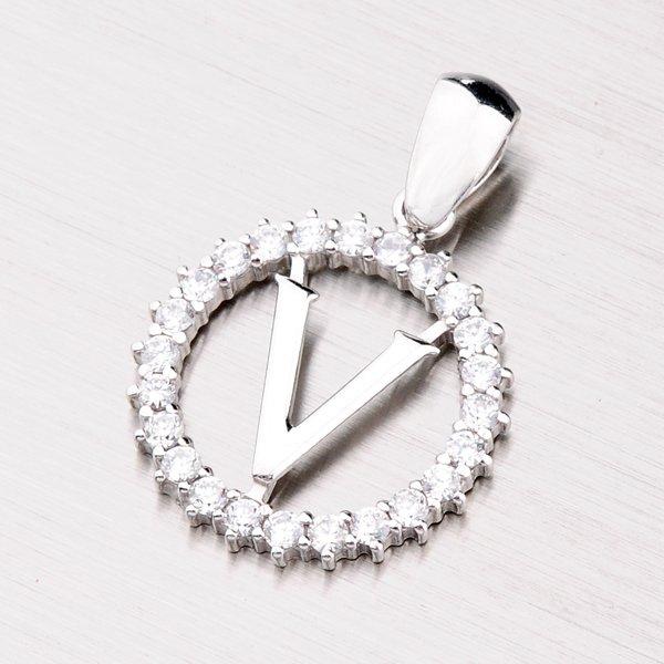 Stříbrné písmenko se zirkony - V MPN5192-V