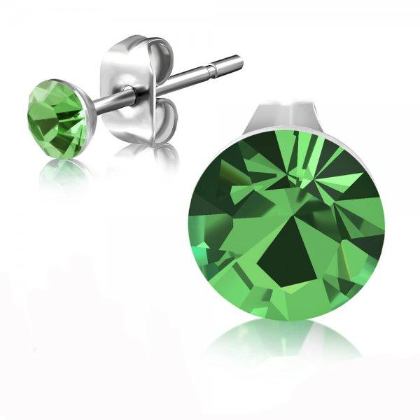 Ocelové pecky se zeleným krystalem GEES188