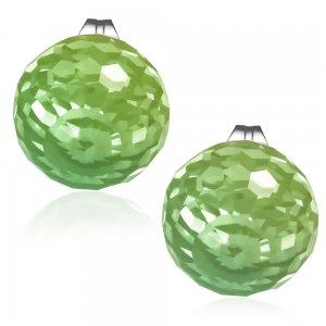 Ocelové pecky se zeleným krystalem GECJ088