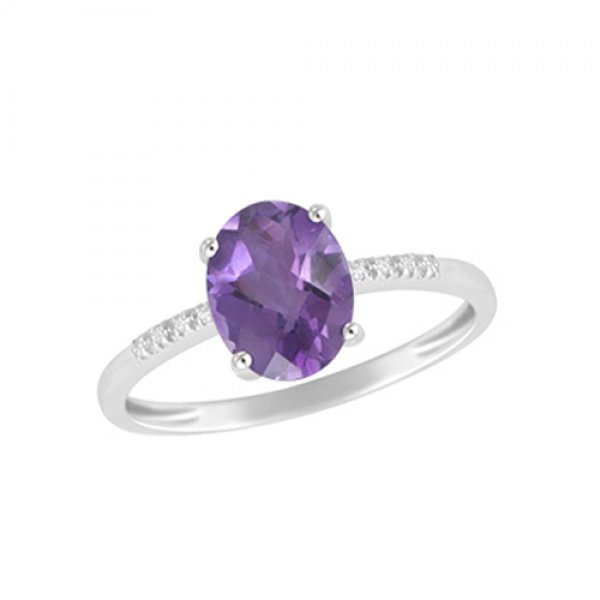 Zlatý prsten s ametystem a diamanty GKW48549