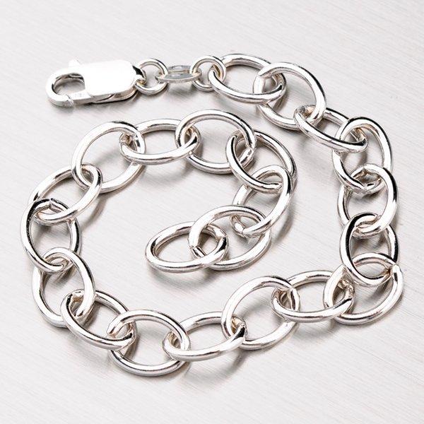 Stříbrný náramek s velkými oky ROLO-R-066-Rh