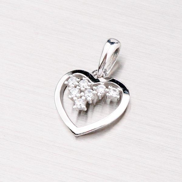 Srdce se zirkony z bílého zlata DZ1606B