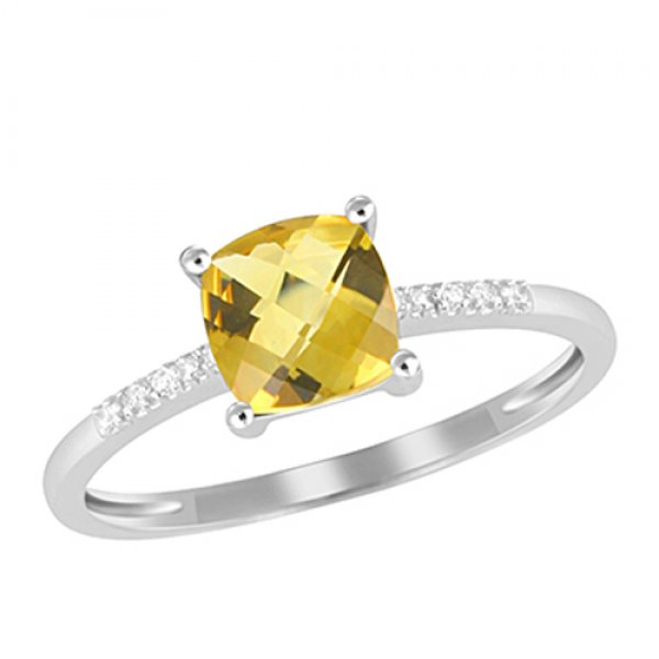 Zlatý prsten s diamanty a citrínem GKW48525CIT