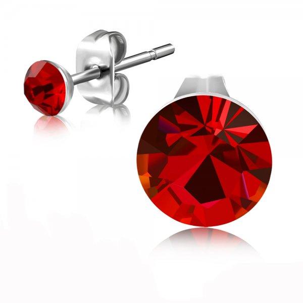 Ocelové pecky s červeným krystalem GEES189