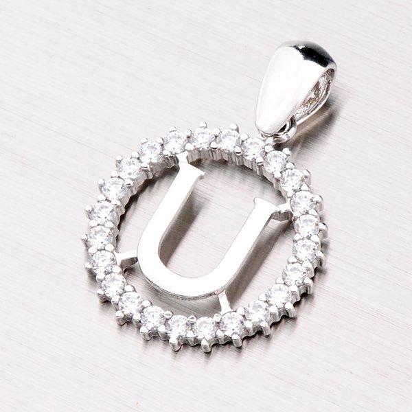 Stříbrné písmenko se zirkony - U MPN5192-U