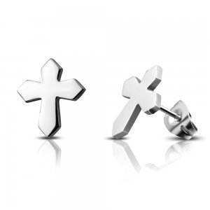 Ocelové náušnice - kříž GJES184