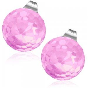 Ocelové pecky s růžovým krystalem GECJ079