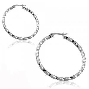 Ocelové náušnice - kruhy 35mm GGEO481