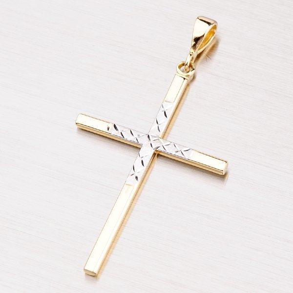 Kříž ze žlutého a bílého zlata 142-0230