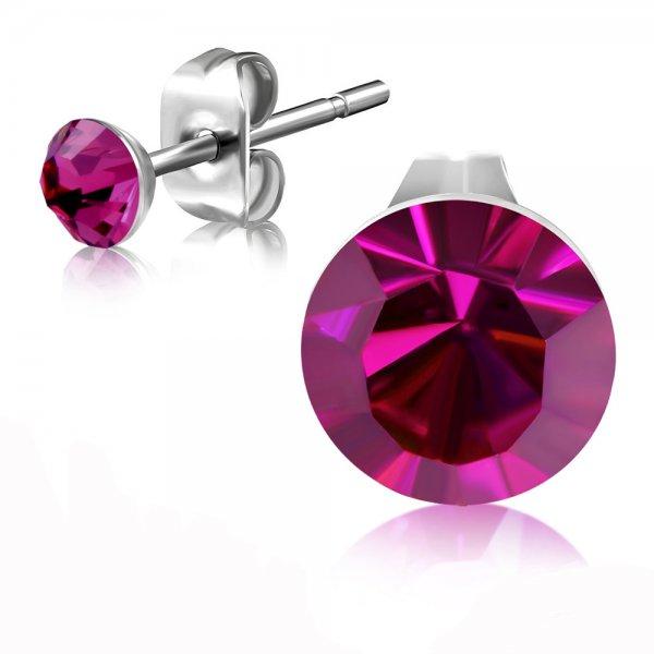 Ocelové pecky s růžovým krystalem GEES185
