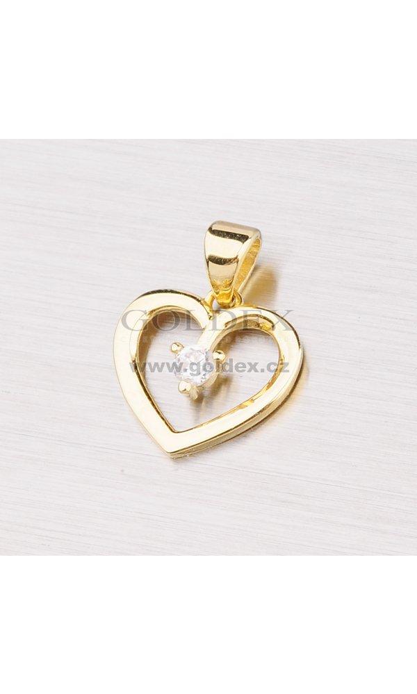 6e086447a Zlatý přívěsek - srdce se zirkonem 142-0869 : Goldex.cz