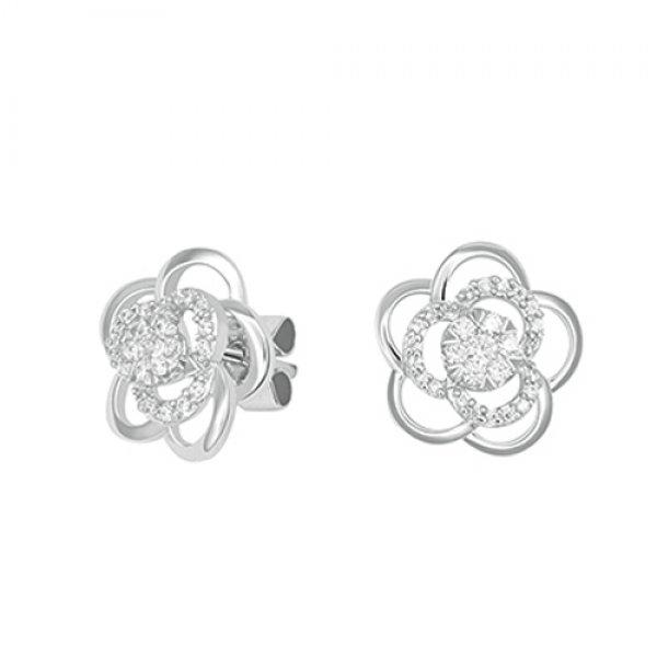 Náušnice s diamanty - kytičky GKW60812