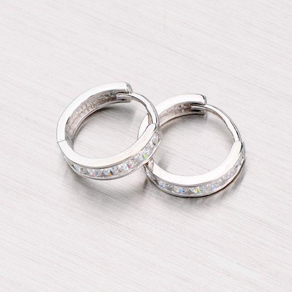 Kroužky se zirkony z bílého zlata 11 mm 118-1195