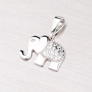 Přívěsek se zirkony - slon 43-2847