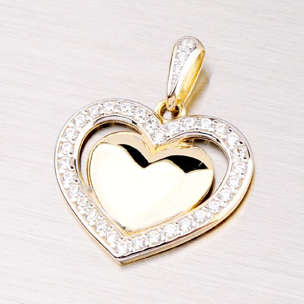 Přívěsek se zirkony ve tvaru srdce DZ2405