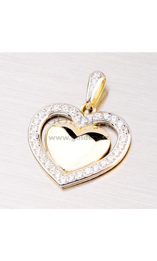 Přívěsek se zirkony ve tvaru srdce DZ2405   Goldex.cz 69803a72d22