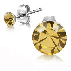 Ocelové pecky se zlatým krystalem GEES182