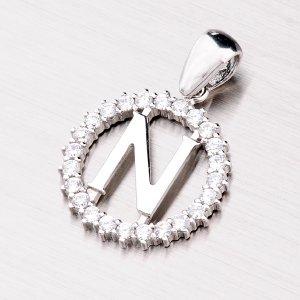Stříbrné písmenko se zirkony - N MPN5192-N