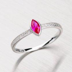 Stříbrný prsten se syntetickým rubínem a zirkony RXC15140058RUB