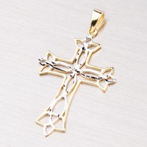 Zlatý přívěsek - křížek s gravírováním 43-21129