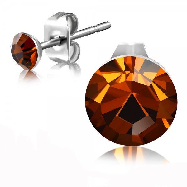 Ocelové pecky s hnědým krystalem GEES183