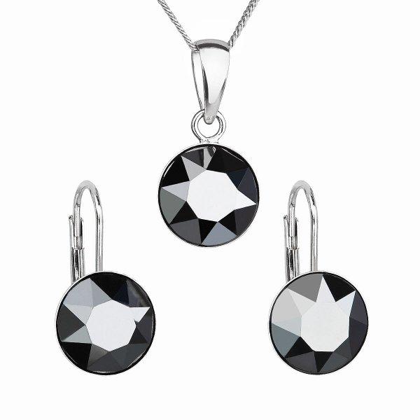 Sada šperků s krystaly Swarovski náušnice, řetízek a přívěsek černé kulaté 39140.5 hematite 39140.5 JET HEMATITE