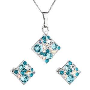 Sada šperků s krystaly Swarovski náušnice, řetízek a přívěsek modrý kosočtverec 39126.3 turquoise 39126.3 TYRKYS