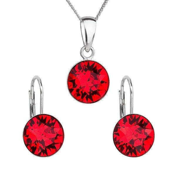 Sada šperků s krystaly Swarovski náušnice, řetízek a přívěsek červené kulaté 39140.3 39140.3 LT. SIAM