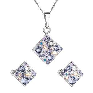 Sada šperků s krystaly Swarovski náušnice, řetízek a přívěsek fialový kosočtverec 39126.3 violet 39126.3 VIOLET