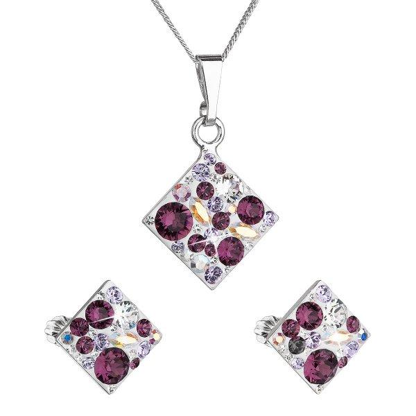 Sada šperků s krystaly Swarovski náušnice, řetízek a přívěsek fialový kosočtverec 39126.3 amethyst 39126.3 AMETHYST MIX