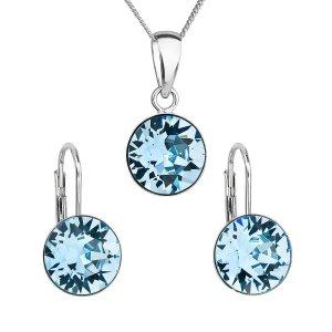 Sada šperků s krystaly Swarovski náušnice, řetízek a přívěsek modré kulaté 39140.3 aqua 39140.3 AQUA