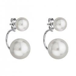 Stříbrné náušnice dvojité s perlou Swarovski bílé kulaté 31177.1 31177.1 BÍLÁ