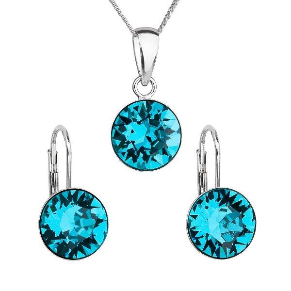 Sada šperků s krystaly Swarovski náušnice, řetízek a přívěsek modré kulaté 39140.3 blue zircon 39140.3 BLUE ZIRCON