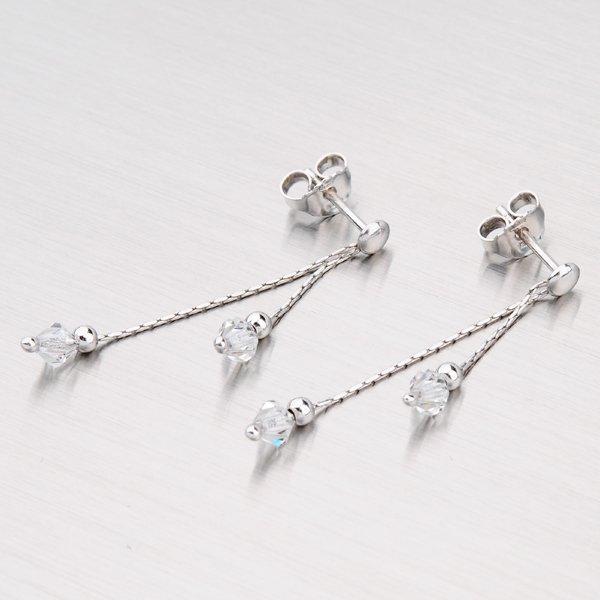 Stříbrné náušnice s krystaly M6015SW-White