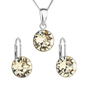Sada šperků s krystaly Swarovski náušnice, řetízek a přívěsek žluté kulaté 39140.3 39140.3 JONQUIL
