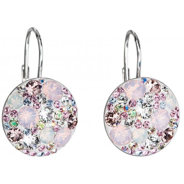 Stříbrné náušnice visací s krystaly Swarovski růžové kulaté 31176.3 31176.3 MAGIC ROSE