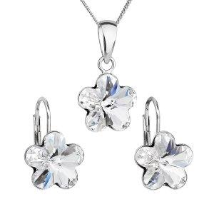 Sada šperků s krystaly Swarovski náušnice, řetízek a přívěsek bílá kytička 39143.1 39143.1 KRYSTAL