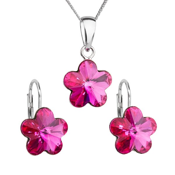 Sada šperků s krystaly Swarovski náušnice, řetízek a přívěsek růžová kytička 39143.3 fuchsia 39143.3 FUCHSIA