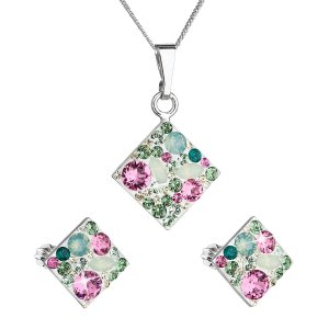 Sada šperků s krystaly Swarovski náušnice, řetízek a přívěsek zelený kosočtverec 39126.3 chrysolite 39126.3 CHRYSOLIT