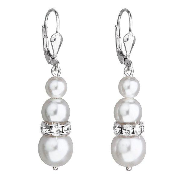Stříbrné náušnice visací se syntetickými perlami a krystaly Swarovski bílé kulaté 31150.1 31150.1 BÍLÁ