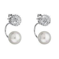 Stříbrné náušnice dvojité s krystaly Swarovski bílé kulaté 31178.1 31178.1 BÍLÁ