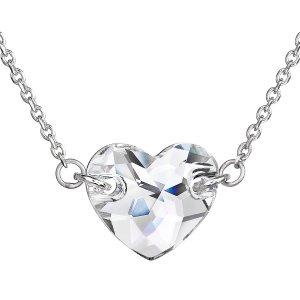Stříbrný náhrdelník s krystaly Swarovski bílé srdce 32020.1 32020.1 KRYSTAL
