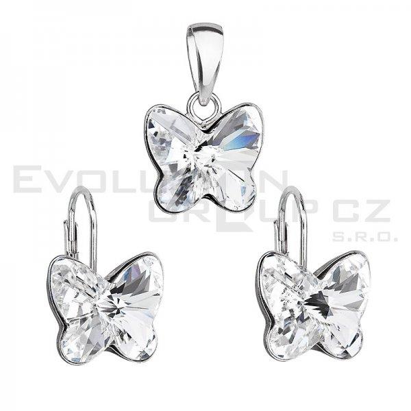 Stříbrná sada šperků se Swarovski krystaly náušnice a přívěsek 39142.1 motýl 39142.1