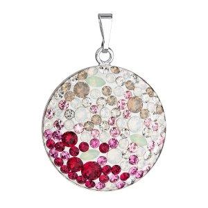 Stříbrný přívěsek s krystaly Swarovski mix barev červené kulatý 34131.3 34131.3 SWEET LOVE